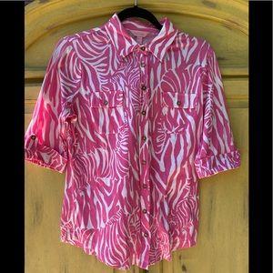 Lily Pulitzer pink/white zebra 3/4 length shirt